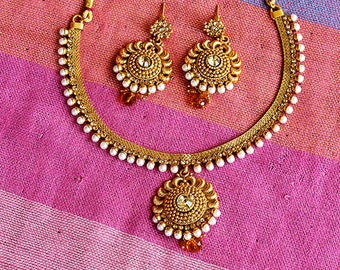 Gold Tone Earrings and Necklace Set | Jewelry Set | Indian Jewelry | Bollywood Jewelry