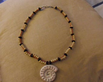WOOD BEADS AND POLYMER CLAY NECKLACE