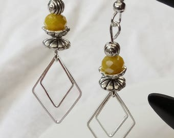 Earrings 925 Silver hook and sunny yellow bead