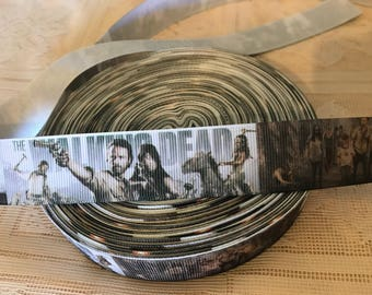 "The walking dead inspired 1"" (25mm) grosgrain ribbon"