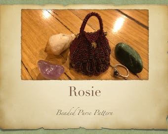 Rosie Beaded Purse PATTERN ONLY Size 11 Sead Beads Knitted Minature bags for Tooth Fairy Crystals Jewlery or Perfume Pouch