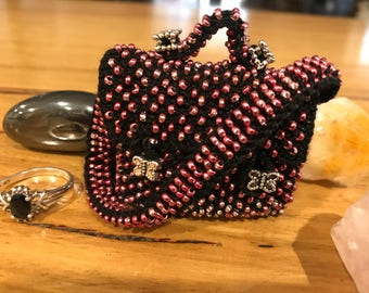Satchmo Beaded Purse. Tooth Fairy Pouch. Crystal or Jewellery Pouch