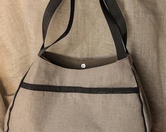 large linen tote bag embellished with black natural