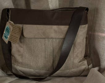 linen and suede bag