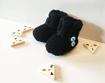 Booties for baby - buttons - black - size 0-3 months