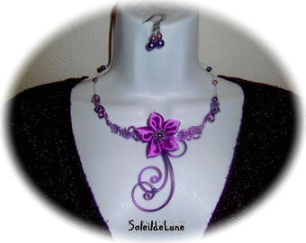 Necklace purple lilac violet flower satin & pearls + BO - necklace wedding party evening ceremony