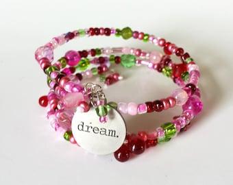 OOAK Dream Bracelet, Inspirational Bracelet, Beaded charm bracelet, Pink bracelets, Motivational Jewelry, Inspiring Charm Bracelet