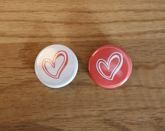 Pair of Badges - Heart - 32 mm - button badges