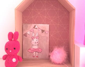 """""""Rabbit Lilirose"""" small painting done with acrylic paint"""