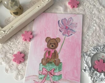 """Small painting """"Lilirose Pooh"""" and its gift package"""