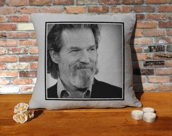 Jeff Bridges Pillow Cushion - 16x16in - Grey