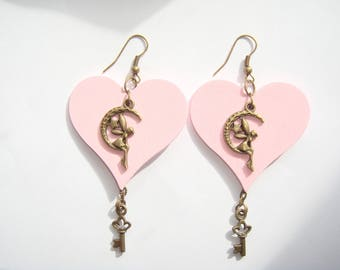 Wood key heart earrings