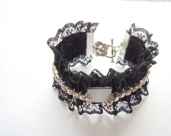 lace white rhinestone Cuff Bracelet