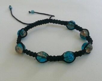 Bracelet shamballa turquoise iridescent glass beads gold