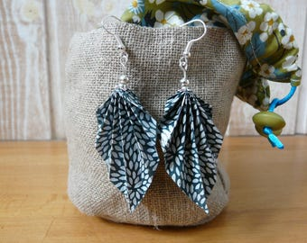 Origami earrings blue and white leaves