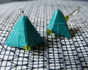 Carton paper turquoise blue origami earrings