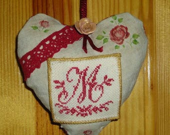 Door hanging cushion decorative heart shaped, with cross stitch embroidery Monogram