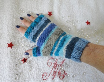 Mittens women wool with multicolored blue thumb mitt blue hand knitted woman