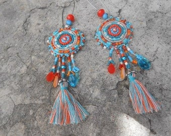 "Embroidered beads and tassel ""turquoisine"" earrings"