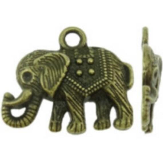 "Set of 5 ""Elephant"" bronze charm size: 22 x 19 mm"