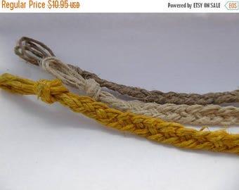 ON SALE Set of Handmade Hemp Braided Bracelets, Natural, Dark Brown & Yellow