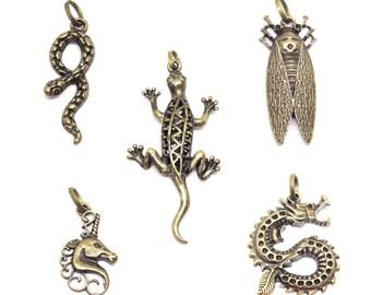 bronze cicada Unicorn lizard serpent dragon pendant