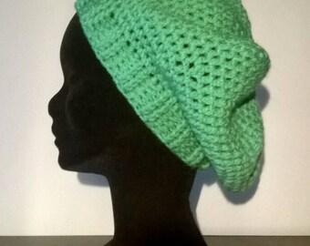 """Hat """"Bohemian"""" waist 58 cm crochet emerald green"""