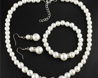 Wedding jewelry, set of white or cream glass pearls, Crystal and 925 sterling silver