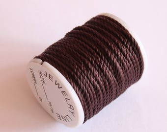 special nylon thread reel jewelry, 2 mm, 10 m, chocolate