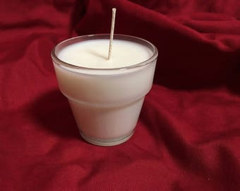 Organic Coconut Wax Candle, 3.5 oz, Clear Glass Flower-Pot
