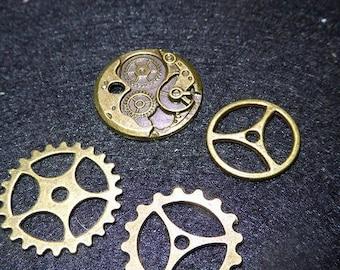 set of 4 Gears cogs Steampunk bronze
