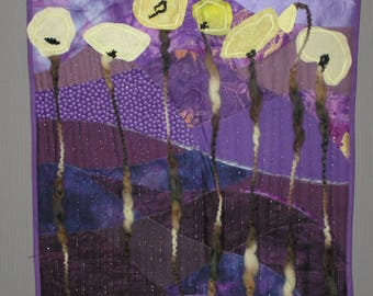 "Small purple patchwork ""yellow poppies"""