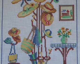Hats and bags of straw with cross stitch Embroidery