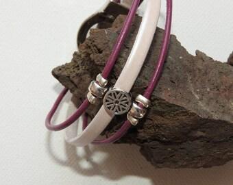 Leather 3cordons bordeaux/Pearlized magnetic bracelet