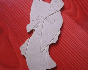 shaped wood woman Asian Chinese fan
