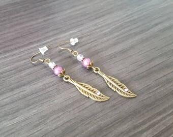 Rhinestone purple feather Earrings