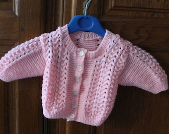 Small vest pink hand knitted baby