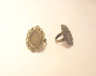 Bronze Oval Filigree ring supports * set of 2