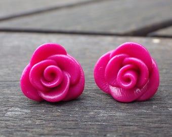 Dangle earrings, Rose pink (chips)