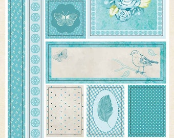 Stickers satin flowers Blue 12 x 20 cm - Paper Touch - Ref 560901C