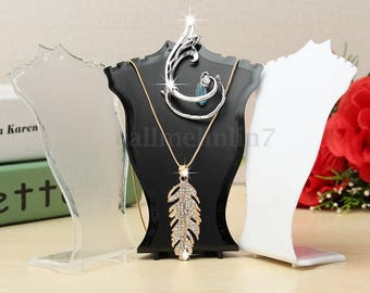 White 1 Mini display bust showcase loops necklace chain pendant jewelry