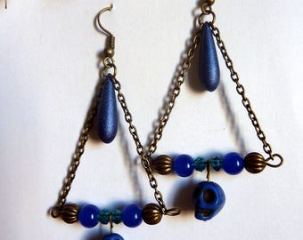 Aztec blue skull earrings