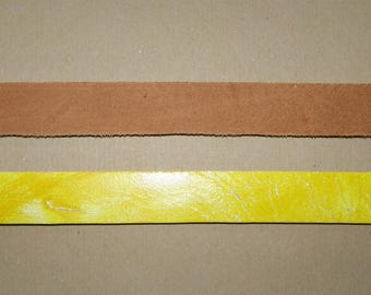 Yellow wide leather strap 20mm