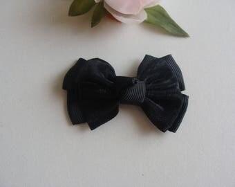 applique bow fancy Ribbon clip Black 6 * 4 cm
