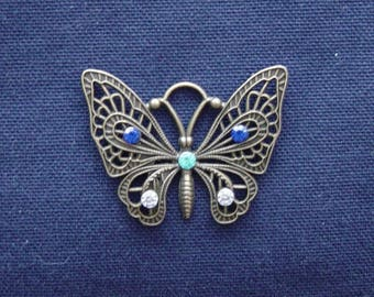 Metal Butterfly charm bronze blue/turquoise/silver rhinestones