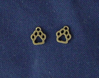 2 charms print dog/cat bronze