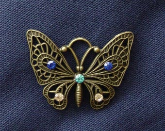 Metal Butterfly charm bronze rhinestone blue/turquoise/gold