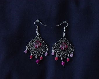 Tree of life Pearl fuchsia magic Silver earrings