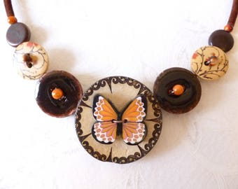 Necklace made with buttons, orange and White Butterfly