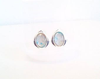 Silver clip earrings and stain with turquoise, light collection